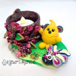 Parker Bug Tea Light StoryBook Scene by KatersAcres | Handmade with polymer clay & millefiori canes