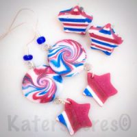 Forth of July Patriotic Earrings by KatersAcres | Polymer Clay, Seed Beads, & Earring Findings