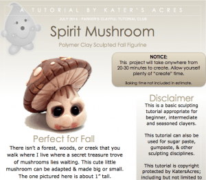 Spirit Mushroom Polymer Clay Tutorial by KatersAcres | Tutorial for Parker's Clayful Tutorials Club Members