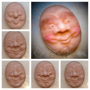 Old Man 2D Face Sculpture in Polymer Clay by KatersAcres