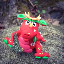 Polymer Clay Christmas Dragon, Holly, by KatersAcres