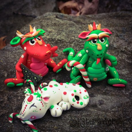 Polymer Clay Christmas Dragons by KatersAcres