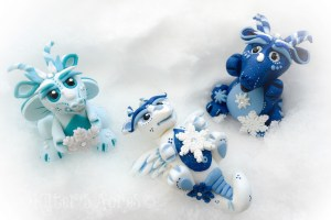 Polymer Clay Winter Dragons by KatersAcres | Snowflake, Avalanche, & Blizzard