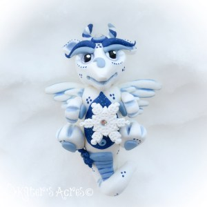 Avalanche, Winter Series Polymer Clay Dragon by KatersAcres