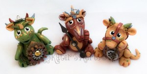 Polymer Clay Steampunk Dragon Set by KatersAcres