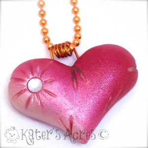 Polymer Clay Pillow Heart Pendant Tutorial | FREE DIY Project from KatersAcres