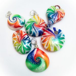 Rainbow StarDust Swirls Pendants by KatersAcres