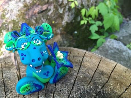 "Polymer Clay, Handmade, ""Caerulea"" Flower Dragon by KatersAcres"