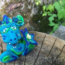 "Polymer Clay, Handmade, ""Caerulea"" Flower Dragon by KatersAcres"