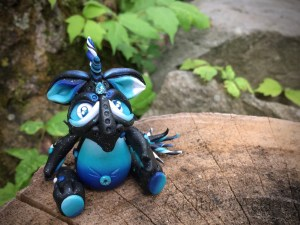 """Polymer Clay Galaxy Dragon, """"Milky Way"""" by KatersAcres"""