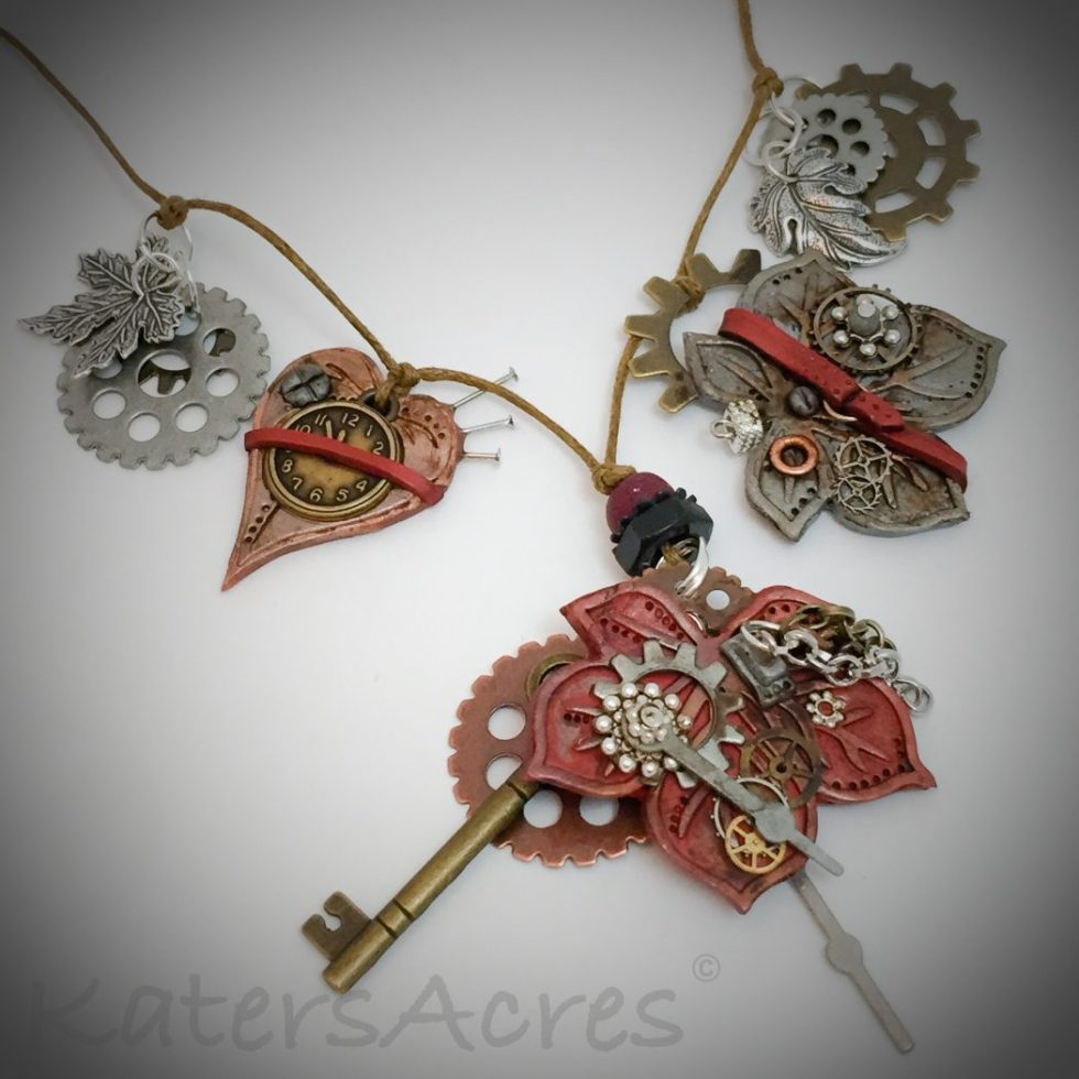 Polymer Clay Steampunk Leaf Pendants Tutorial by KatersAcres