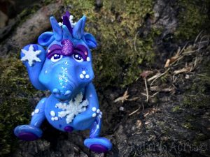 Polymer Clay Dragon WINTER by Katie Oskin of KatersAcres