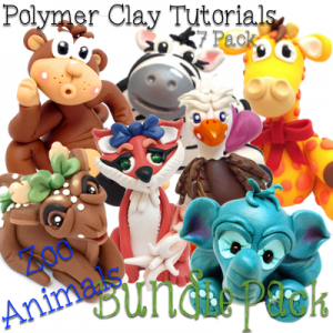 ZOO ANIMALS - Polymer Clay Tutorials PDF Bundle Pack of 7 Zoo Animal Figurine Tutorials from KatersAcres