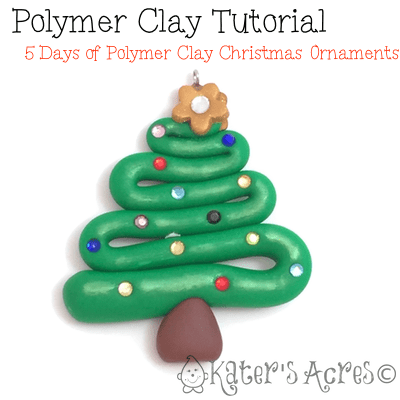 5 Days FREE Polymer Clay Ornament Tutorials - Christmas Tree by KatersAcres | CLICK to see how to make your own