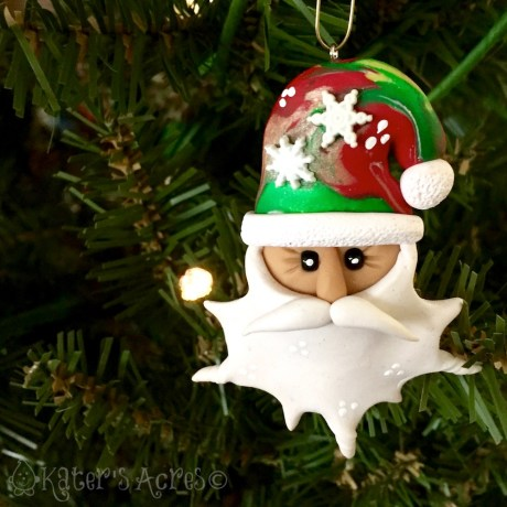 5 Days FREE Polymer Clay Ornament Tutorials - Santa Claus by KatersAcres | CLICK to see how to make your own