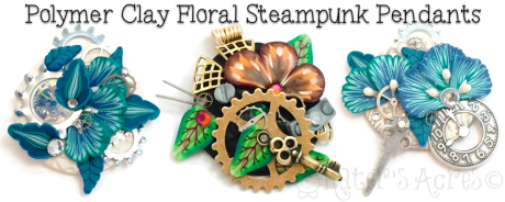 Polymer Clay Winter Steampunk Pendant Tutorial by KatersAcres | CLICK to get the FREE Tutorial Now