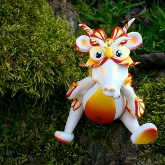 Polymer Clay Dragon, Articulated, SUNSET Flower Dragon by Katie Oskin