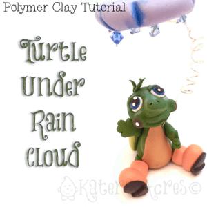 Polymer Clay Turtle Under Rain Cloud Tutorial by KatersAcres