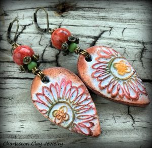 """Polymer Clay """"Flora Rustica"""" Earrings by Shannon Tabor"""