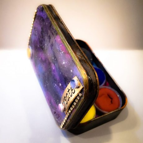 Polymer Clay GALAXY Technique Tutorial Paint Tin Worksheet by KatersAcres