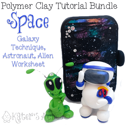 Polymer Clay SPACE Themed Tutorials Bundle Pack - Includes Galaxy Technique, Travel Galaxy Paint Tin, Alien Worksheet, Astronaut Project by KatersAcres   REPIN NOW, Buy Later