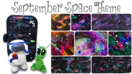 September SPACE Theme at KatersAcres | Learn polymer clay & mixed media techniques - PIN NOW, Click Later
