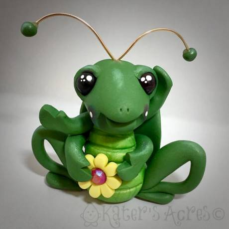 Polymer Clay Grasshopper by Katie Oskin