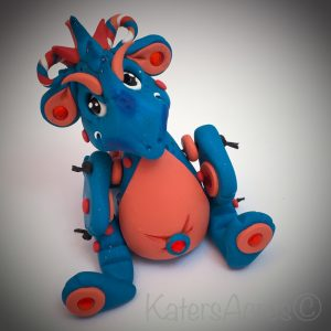 Bleu Polymer Clay Dragon by KatersAcres