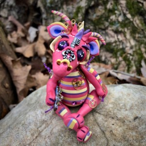 Punknys the Polymer Clay Dragon by Katie Oskin