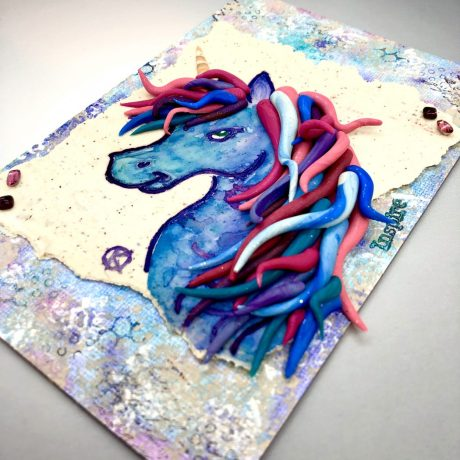 Unicorn Mixed Media Piece by Katie Oskin