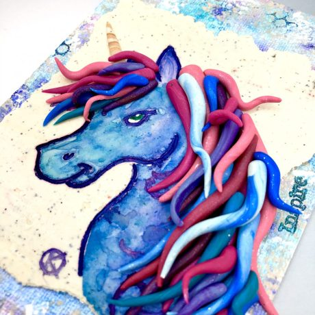 Unicorn Mixed Media Piece by Katie Oskin