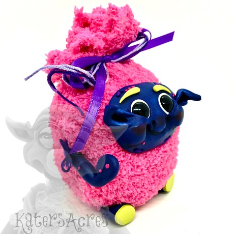 Pink Stuffed Toy with Polymer Clay by KatersAcres