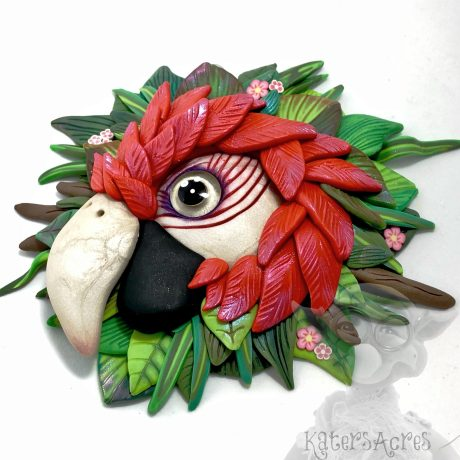 Polymer Clay MACAW Wall Hanging by Kater's Acres