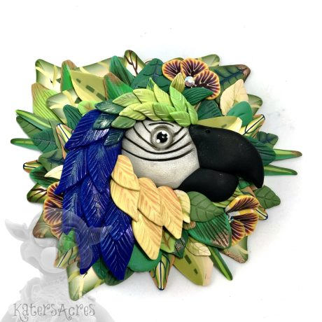 Polymer Clay MACAW Wall Hanging in Blue by Kater's Acres