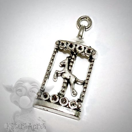 Antiqued Silver Carousel Charm from Kater's Acres
