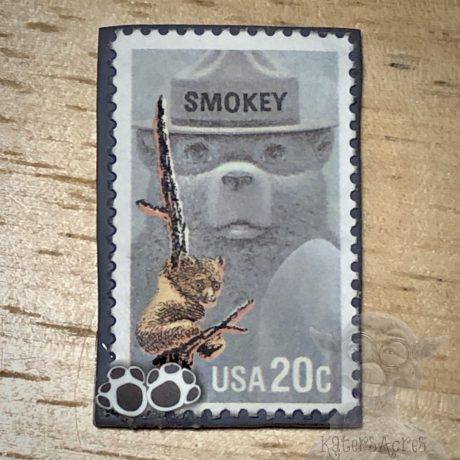 Smokey the Bear Postage Stamp Polymer Clay Pendant from Kater's Acres