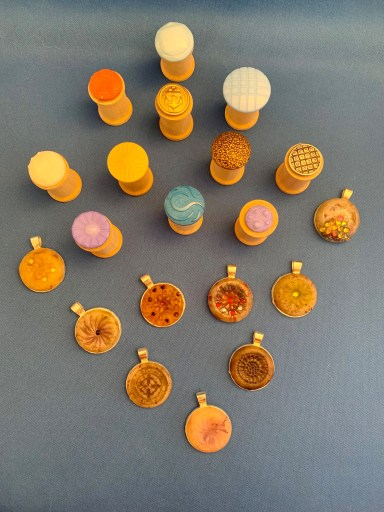 Button Stamps & Polymer Clay Pendants from Monica Rice