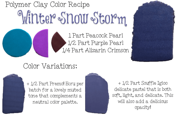 Winter Snow Storm, Premo Polymer Clay Color Recipe from Kater's Acres