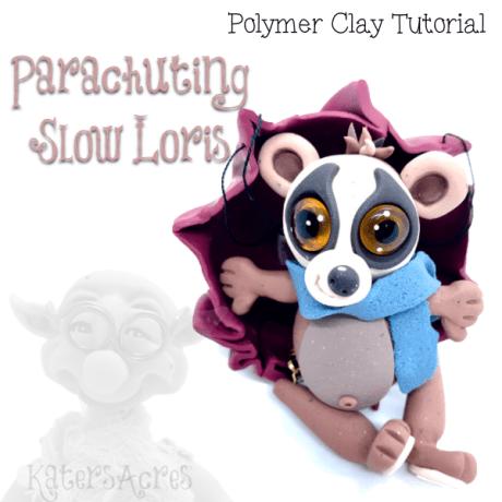 Polymer Clay Parachuting SLOW LORIS Tutorial by KatersAcres
