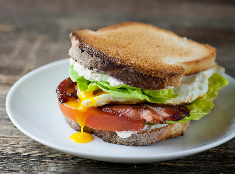Bacon, Lettuce, Tomato and Fried Egg Sandwiches