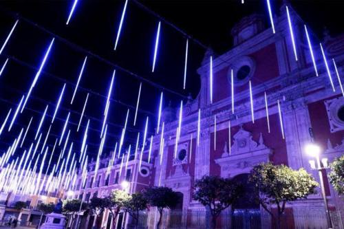 The special LED light display in Plaza del Salvador, right outside my front door!