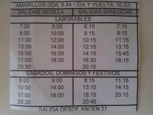 2015 bus schedule Seville - Sanlúcar