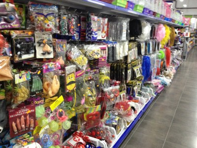 """A local """"chino"""" store with a full aisle dedicated to carnaval costumes!"""