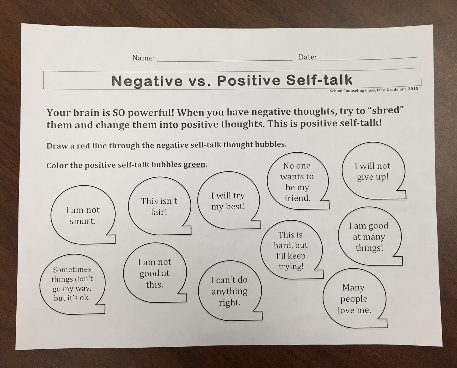 Positive Activity Worksheet