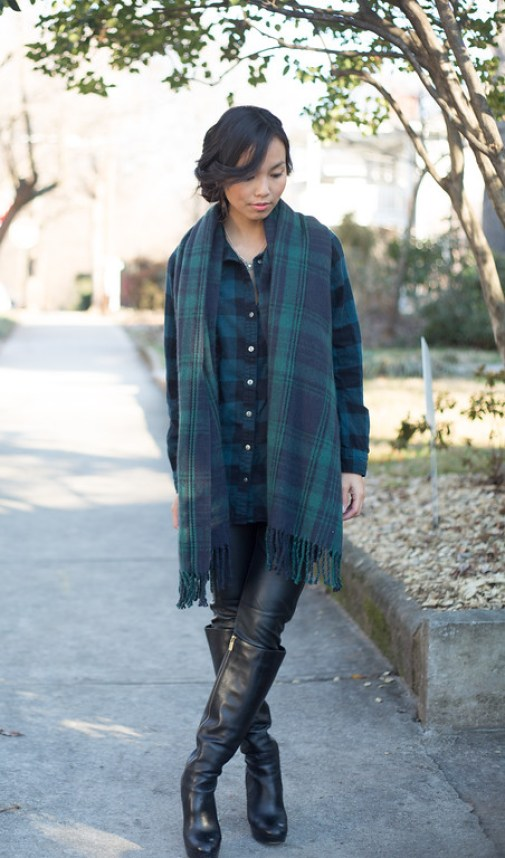 Kate Style Petite, Esbe Necklace, Green Plaid
