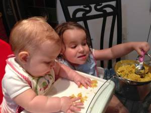 Big sis, helping with the baby led weaning