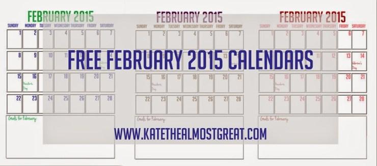 Free Downloadable February 2015 Calendars