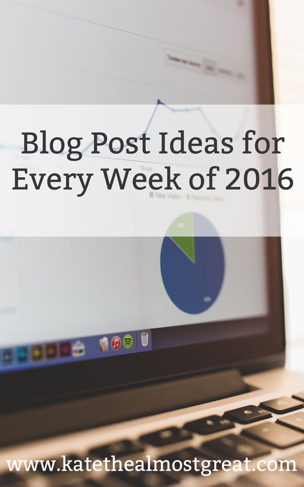 Blog Post Ideas for Every Week of 2016