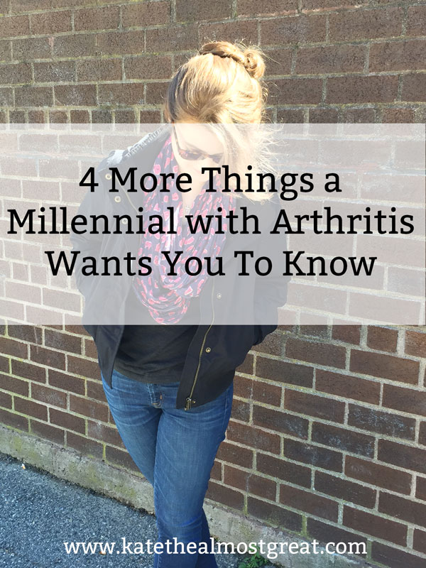 Did you know that 2/3 of arthritis patients are under the age of 65? I'm pulling back the curtain on life with arthritis and sharing what it's like to be a millennial with arthritis so you can better understand what life is like for those of us who live with the constant pain of arthritis.