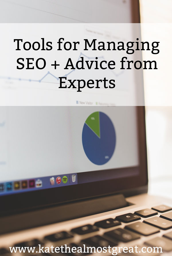 Sharing the tools I use to find SEO keywords and manage my SEO in my blog posts, as well as sharing advice from SEO experts.